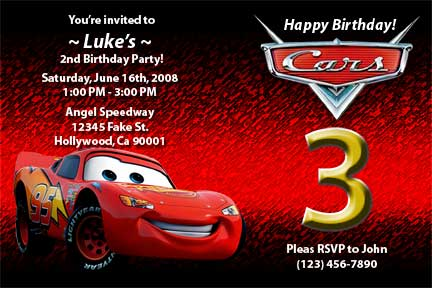 Our first design is this Lightning McQueen cars invitat