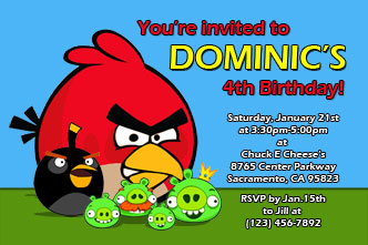 angry birds printable invitations