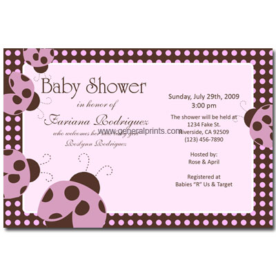 Birthday Party Invitation Templates Free on Kids Birthday Party Invitations   Ladybug Baby Shower Invitations