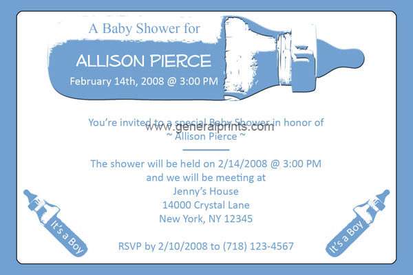 Personalized baby bottle invitations printable