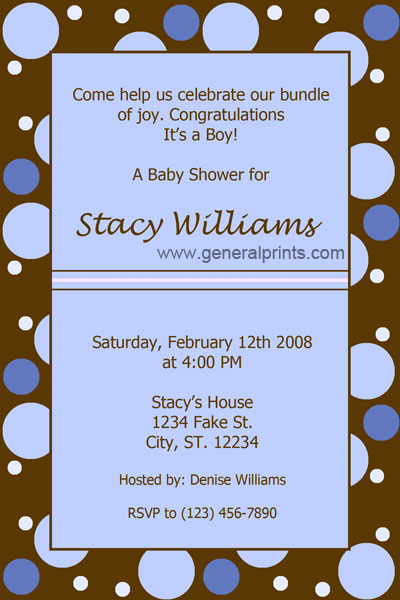 Baby Shower Invitation Cards on Home   Baby Shower Invitations   Polka Dots Shower Invitations