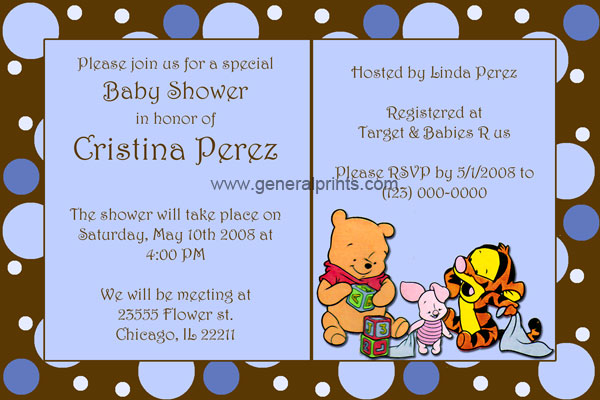 Baby Pooh Baby Shower Baby Shower Invitations