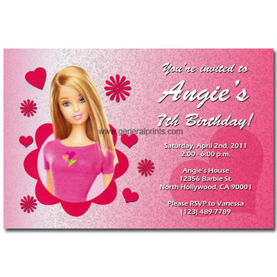 Free Baby Picture on Personalized Barbie Invitations  Birthday  Printable  Party