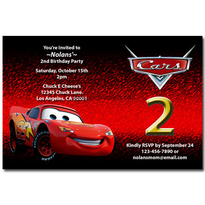 Home - Kids Birthday - Disney Cars Invitations