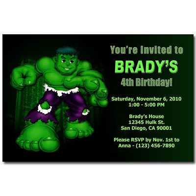 Birthday Party Invitation Templates Free on Home   Kids Birthday Party Invitations   Incredible Hulk Invitations