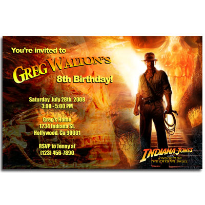 Personalized Indiana Jones invitations printable