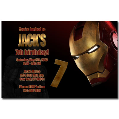 Ironman birthday party printable invitation cards - recent events Printable