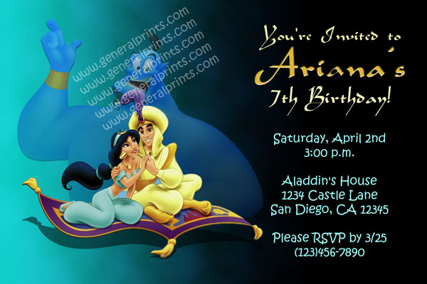 aladdin invitations - princess jasmine