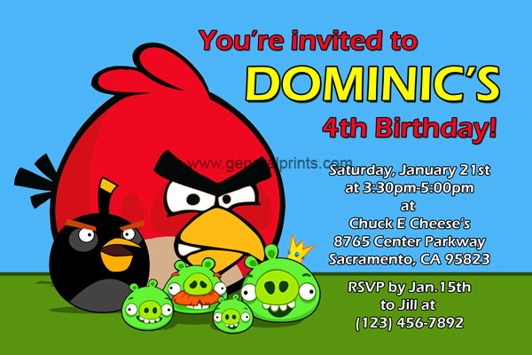 Angry Birds Birthday Invitations Classic and Space – Angry Birds Party Invitations
