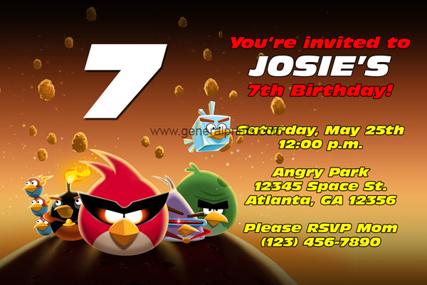 Angry birds birthday invitations classic and space general prints angry birds space invitation filmwisefo Choice Image