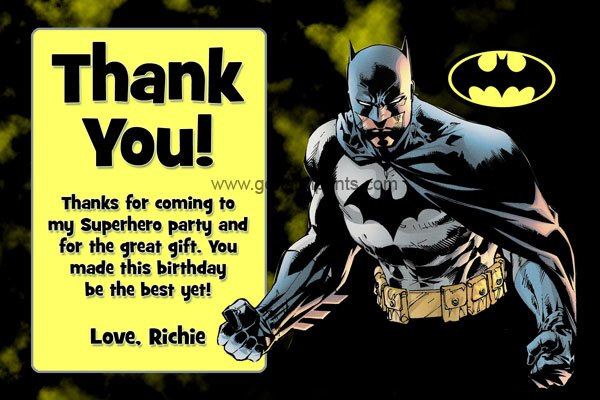 Batman Thank You Card #1