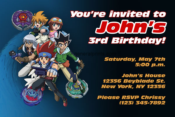 Beyblade invitations general prints beyblade invitation filmwisefo