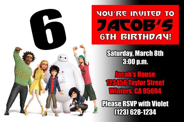 Big Hero 6 Invitation 1