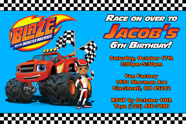 Personalized Printable Invitations Blaze And The Monster Machines