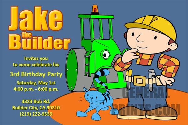 bob the builder invitations general prints