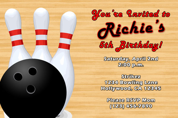 Bowling Invitations  Cosmic Bowling Invites