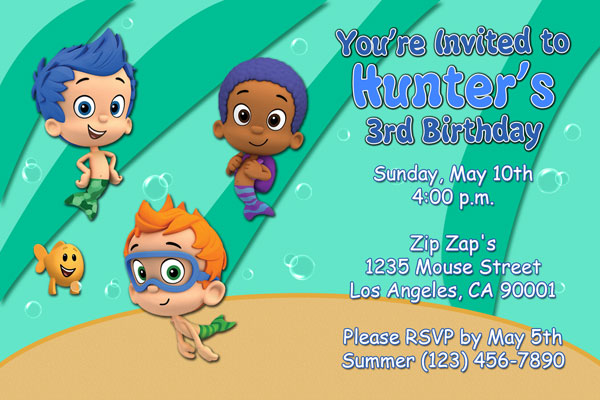Bubble Guppies Invitations For Boy Or Girl