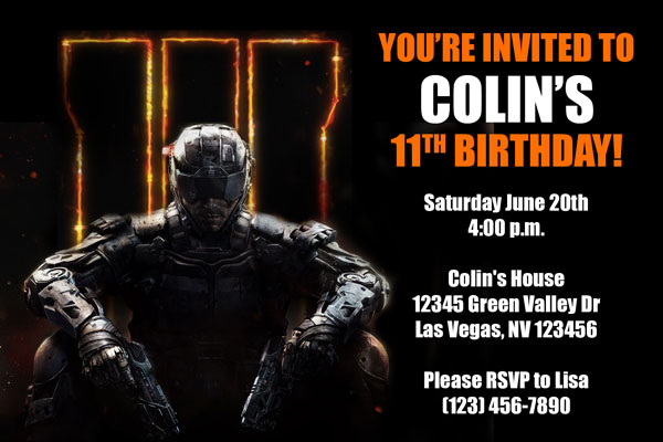 Call Of Duty Invitations From General Prints