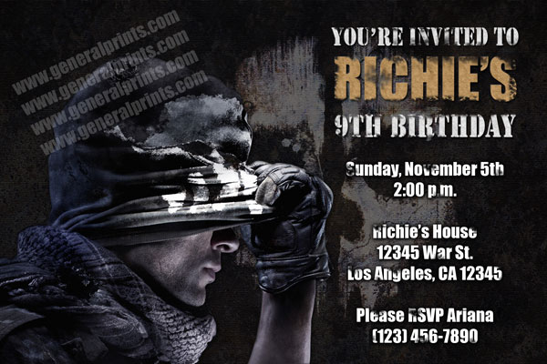 Call of duty invitations from general prints call of duty invitation filmwisefo