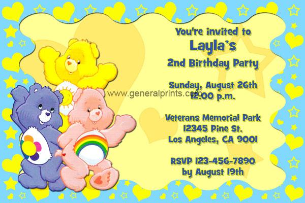Care Bears Birthday Invitations General Prints