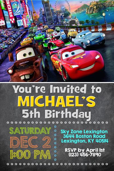 Cars 3 Invitations Chalkboard