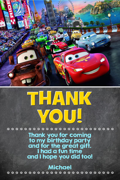 Cars 3 Thank You Card Chalkboard