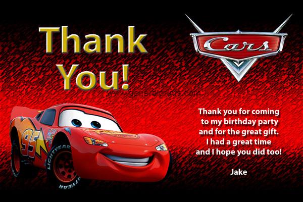 Disney Cars Invitations Lightning McQueen Mater