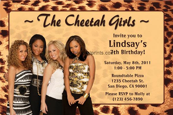 Personalized Cheetah Girls Invitations Birthday Printable Party – Cheetah Birthday Invitations