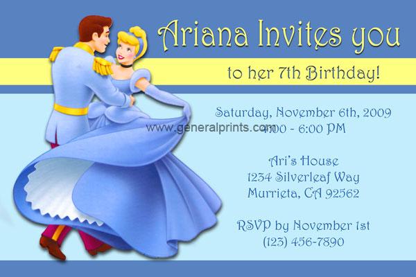 Cinderella Invitations General Prints