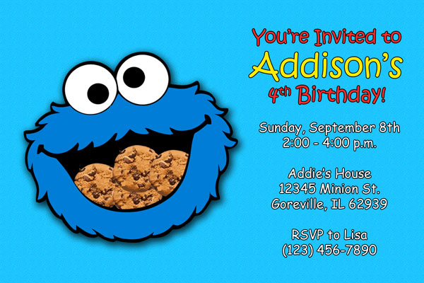 Cookie Monster Invitations Printable