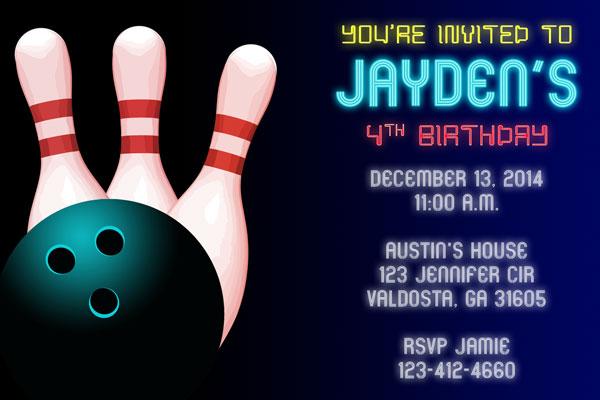 bowling invitations cosmic bowling invites