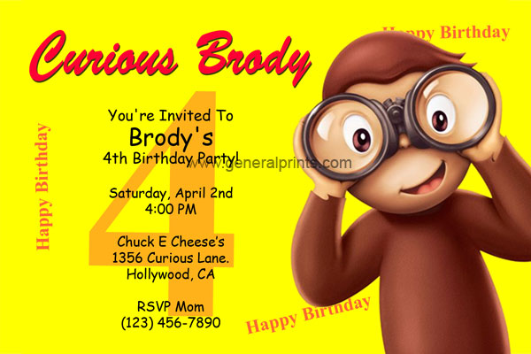 Curious George Birthday Invitations General Prints