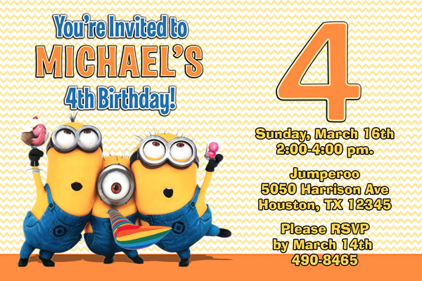 Despicable Me Invitations Minion Birthday Party