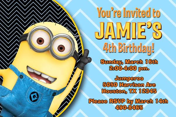 Despicable Me Invitations Minions Invites
