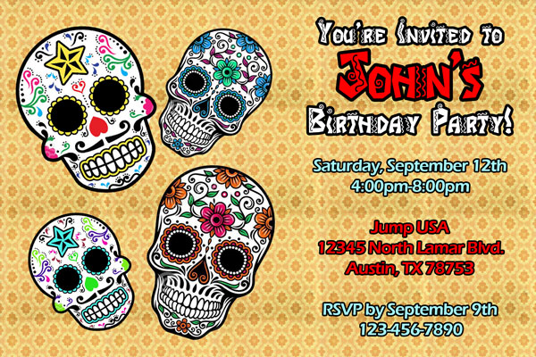 Dia De Los Muertos Invitations Day Of The Dead Invites General - Day of the dead party invitation template