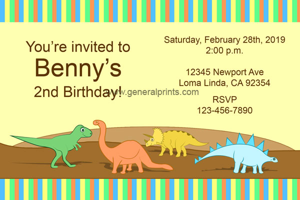 Jurassic World Dinosaur Invitations from General Prints