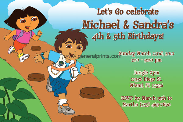 Diego and dora birthday invitations general prints dora and diego invitation filmwisefo
