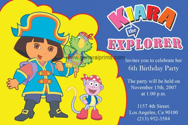 Dora the Explorer Birthday Invitations General Prints – Dora the Explorer Birthday Invitations