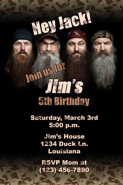 Duck Dynasty Invitations Camo Birthday Printable