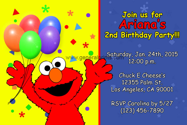 Elmo Invitations from General Prints