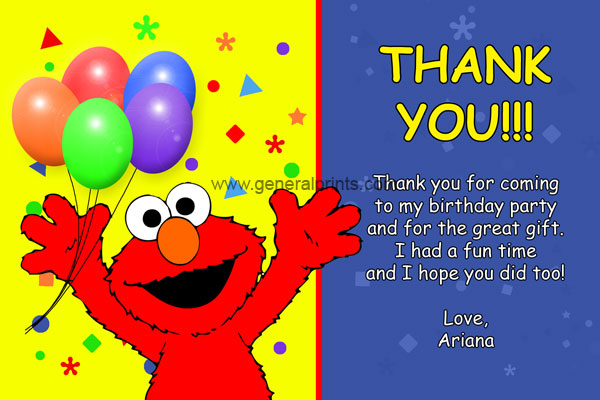 Elmo Thank You Card #1