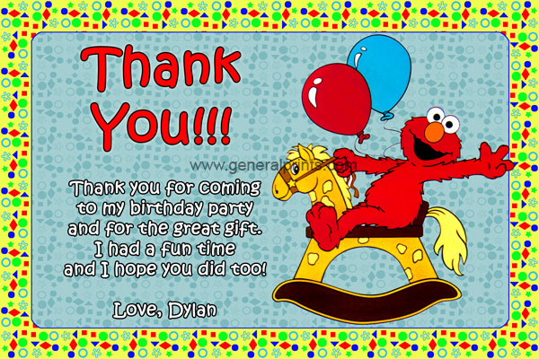 Elmo Invitations from General Prints – Elmo Birthday Card
