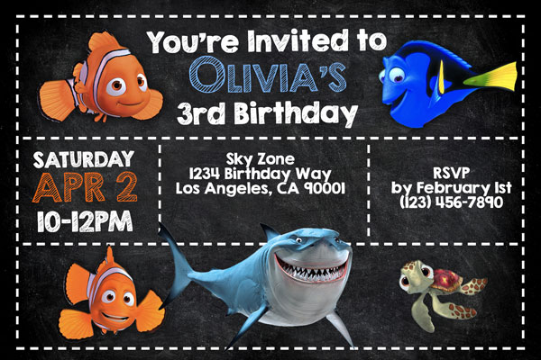Finding Nemo Finding Dory Invitations With Marlin And Dory General