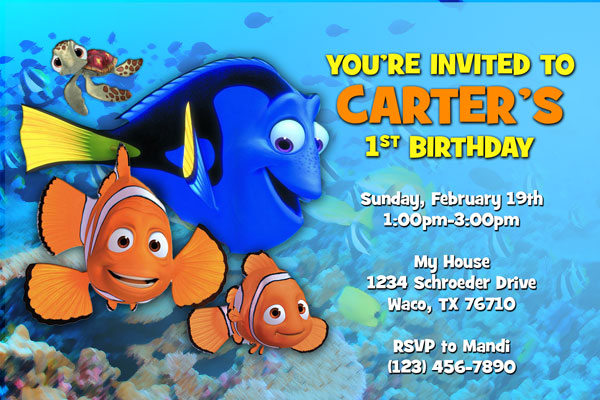 Finding NemoFinding Dory invitations with Marlin and Dory