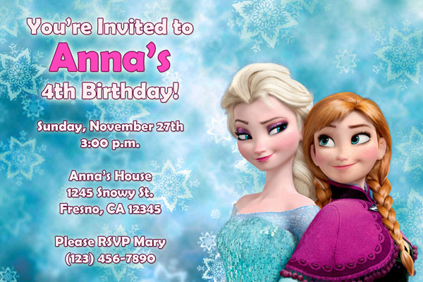frozen invitations with elsa and Anna
