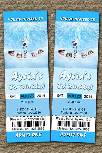 frozen ticket invitations