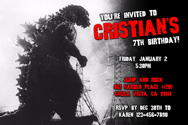 godzilla invitations from general prints
