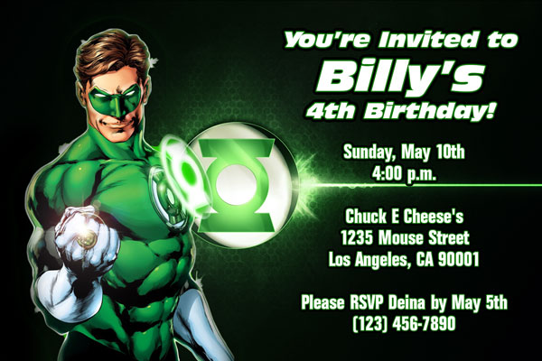 green lantern invitations