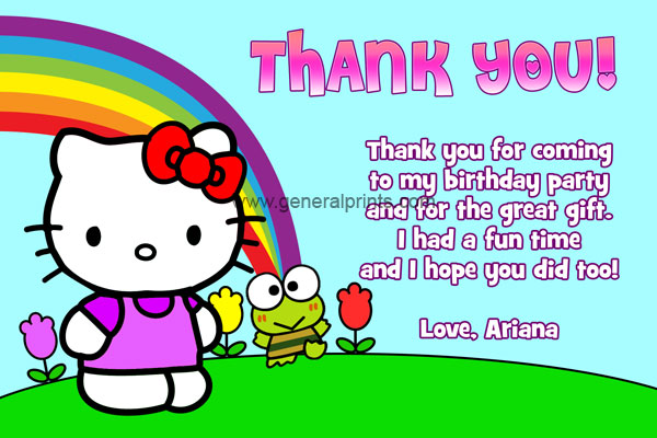Hello kitty birthday invitations general prints hello kitty thank you card 2 stopboris Image collections