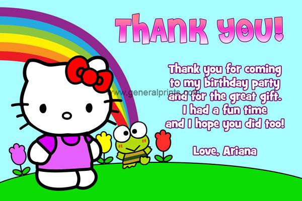 Hello kitty birthday invitations general prints hello kitty thank you card 2 stopboris Choice Image